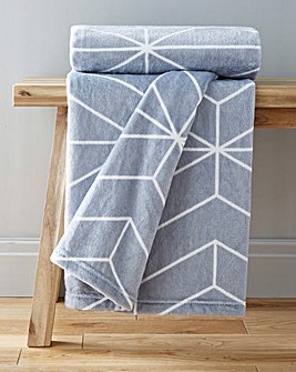 Geo Printed Fleece Throw
