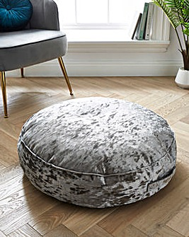 Crushed Velvet Round Floor Cushion