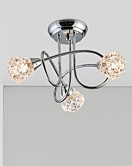Pisa Three Light Chrome Ceiling Light