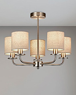 Suffolk Five Light Satin Silver Ceiling Fitting