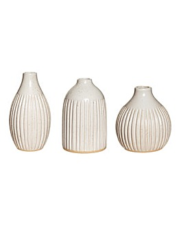 Set of 3 Grooved Bud Vases