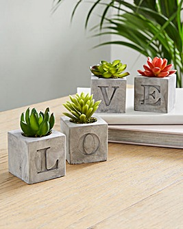 LOVE Cement Artificial Plant Set