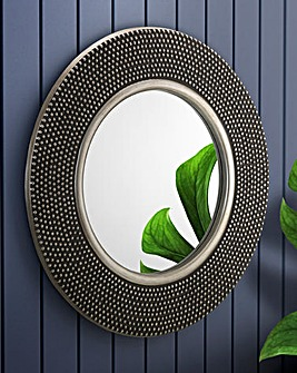 Harper Round Studded Wall Mirror