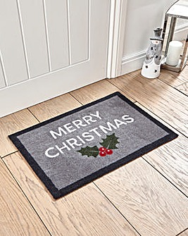 Merry Christmas Holly Door Mat