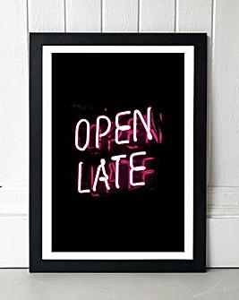 Open Late Framed Wall Art
