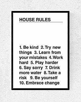 House Rules Framed Wall Art