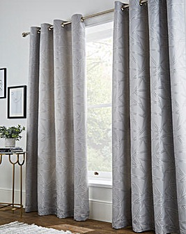 Metallic Yarn Geo Lined Eyelet Curtains