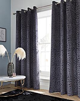 Embossed Leopard Print Velvet Eyelet Curtains