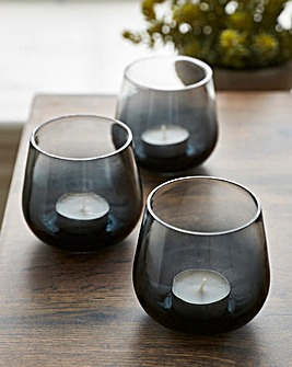 Set of 3 Smoked Candle Holders