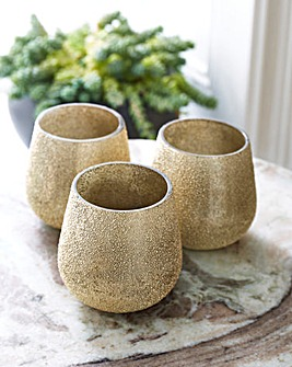 Set of 3 Gold Candle Holders