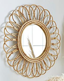 Rattan Round Mirror