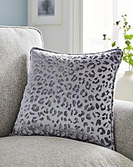 Embossed Leopard Print Velvet Cushion