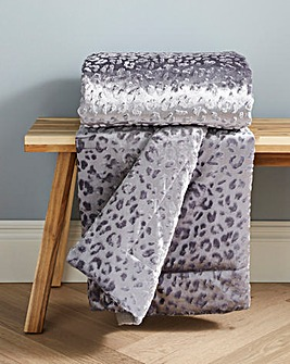 Embossed Leopard Print Velvet Throw