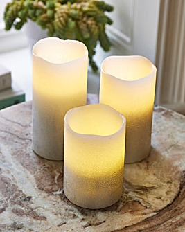 Set of 3 Silver Ombre LED Candles