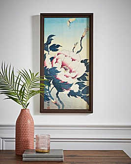 Peony and Butterfly Framed Print
