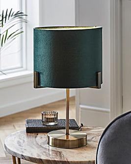 Gold and Green Velvet Table Lamp
