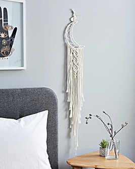 Macrame Moon Dream Catcher Wall Light with LED