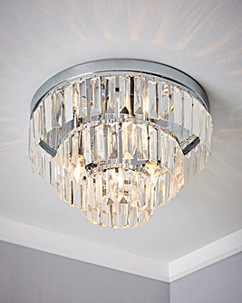 3LT Chrome Ceiling with 3 Tier Glass Drops