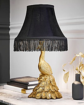 Peacock Resin Lamp with Empire Fringe Shade