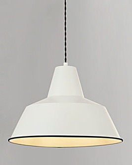 Cream Metal Diner Pendant with Twisted Braided Black Suspension Cable