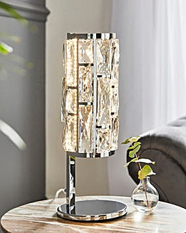 Chrome LED Table Lamp with Faceted Clear Glass Trim