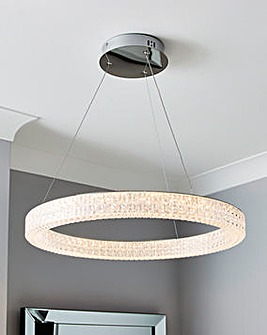 LED Ceiling Pendant with Diamond Pattern Acrylic Shade. Dia. 60cm