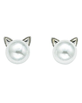 Puss In Pearl Studs