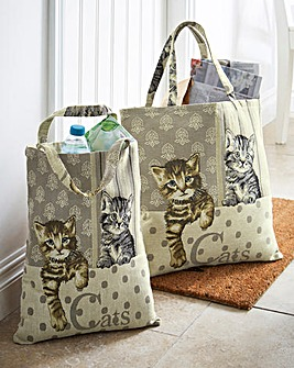 Tapestry Cat Tote Bags Set of 2
