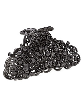 Mood Black Crystal Filigree Hair Clamp