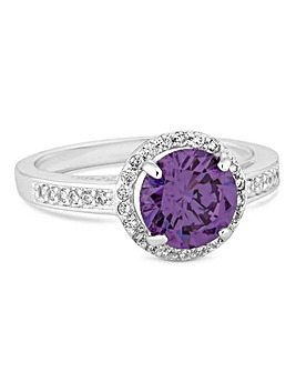 Mood Purple Crystal Halo Ring