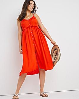 Button Down Midi Beach Dress