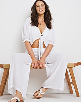 Sofia Tie Front Top and Beach Trouser Set