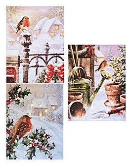 Illuminated Robin Canvas Set of 3
