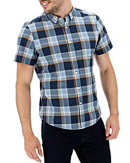Blue/ Navy Short Sleeve Check Shirt Long