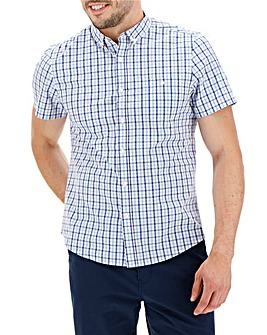 Blue Check Short Sleeve Check Shirt Long