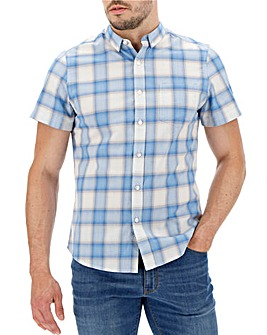 Grey/Blue Check Short Sleeve Shirt Long