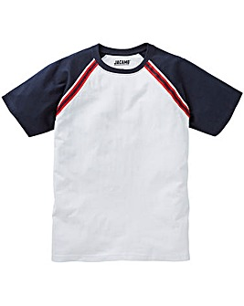 Raglan White and Navy T-Shirt Long