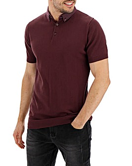 Woven Collar Short Sleeve Polo Long