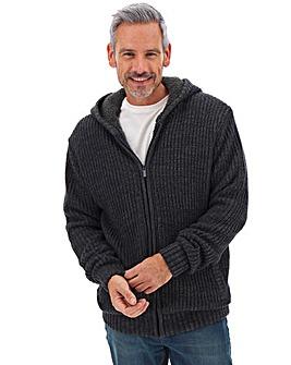 Navy Fur Lined Knit Cardigan Long
