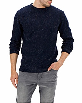 Navy Neppy Yarn Mix Crew Neck Long
