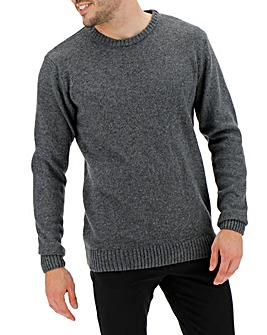 Charcoal Neppy Yarn Mix Crew Neck Long