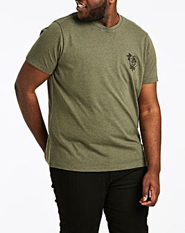 Embroidered Khaki T-Shirt L