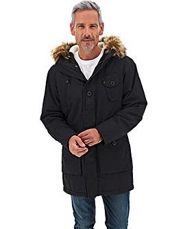 Black Faux Fur Trim Luxe Parka