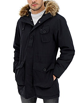 Black Faux Fur Trim Luxe Parka