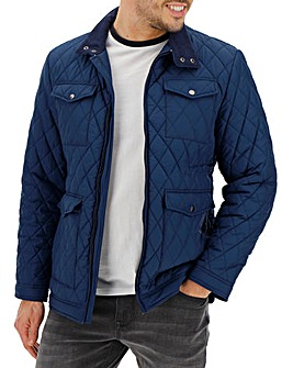 Navy Four Pocket Quilted Jacket
