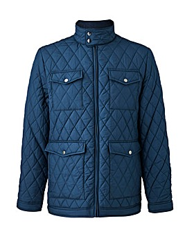 Navy Four Pocket Quilted Jacket Long
