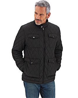 Black Four Pocket Quilted Jacket
