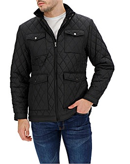 Black Four Pocket Quilted Jacket Long
