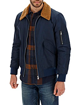 Navy Borg Collar Flight Jacket Long