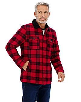 Red and Black Check Overshirt Long